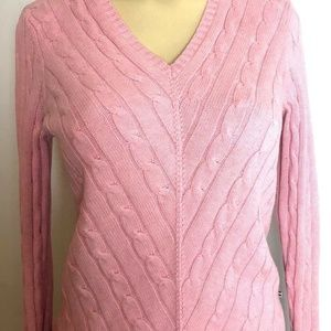 Tommy Hilfiger Womens V-neck Cable Knit Long Sleev
